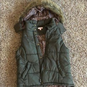 Fur hooded vest